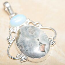 "Handmade Natural Ocean Jasper Gemstone 925 Sterling Silver Pendant 2.5"" #P14840"
