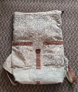 Myra Bag Canvas Foldover Backpack Bag S-1161 Paisley Gray Fur Hair Beautiful LN