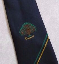 QUERCUS CREST MOTIF TIE VINTAGE RETRO CLUB ASSOCIATION COMPANY NAVY TREE 1990s