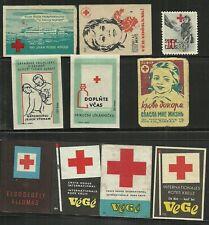 RODE KRUIS / RED CROSS: 25 labels/lucifersmerken etc, +8 suikerzakjes/ / ZIEN!!