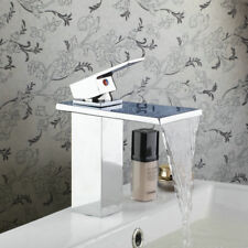 RE Bathroom Faucet with Glass Spout Chrome Waterfall Vessel Sink Mixer Taps