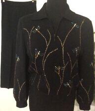 ST.JOHN Evening Women's Knit Black Sequin Studded 2 Piece Pant Suit Size 4 EUC