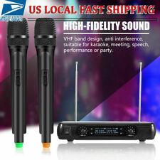 UHF Karaoke Wireless Microphone System Dual Handheld 2 x Mic Cordless Receiver