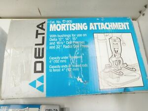 NOS  Delta 17-905 Mortising Attachment with 4 Bits & Chisels