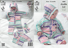 King Cole Knitting Pattern for Baby Romper Suit, Jacket & Socks - 4009