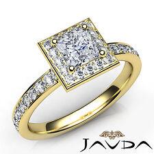 Halo Princess Diamond Pave Set Engagement Ring GIA E VS1 18k Yellow Gold 1.17Ct