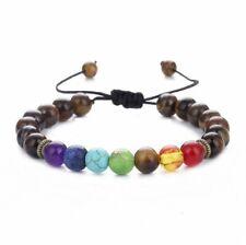 7 Reiki Chakra Healing Brown Balance Beads Braid Bracelet