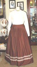 Civil War Dress~Frontier~Victorian Style-Cotton Chocolate Brown Work/Camp Skirt