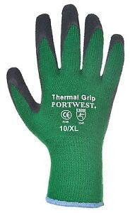 Portwest A140 Thermal Grip Glove-Latex in Green/Black Size 10/XL FREE UK POSTAGE