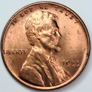 1955 P DDR Lincoln Wheat Cent US Penny 1¢. Philadelphia  DOUBLED DIE REVERSE