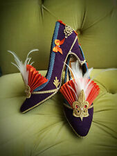 Marie Antoinette Flapper Costume Heels Shoes, Purple, Orange and Gold, size 9.5