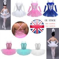Children Girls Ballet Tutu Dance Dress Kids Leotard Sequins Swan Fairy Costumes