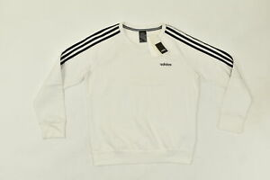 Adidas Women's Size L Pullover Sweater  White Long Sleeve Solid Cotton Blend