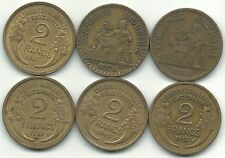 VERY NICE LOT 6 FRANCE 2 FRANCS COINS-1922,1924,1937,1938,1940,1941-MAY750