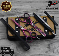 Professional Hairdressing Scissors Barber Salon Shears SET Pink With Free RAZOR