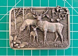Vintage Elk Family 1982 Belt Buckle Siskiyou Olympia Washington (B3#2)
