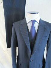 Sergio Valente vintage 80s blue chalk stripe vest three piece dual vent suit 38R