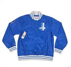 Detroit Lions NFL Throwbacks Mitchell Ness Mens XL Blue 1/2 Zip Pullover Jacket