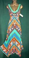 New MONSOON UK 12 14 22 Chevron Floral GEMIMA Stretch Jersey Holiday Midi Dress