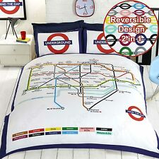 LONDON UNDERGROUND TUBE MAP DOUBLE DUVET COVER SET WITH PILLOWCASES BEDDING
