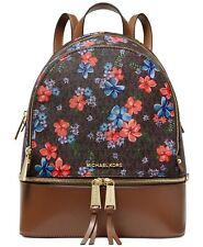 MICHAEL KORS Rhea Signature Floral Zip Backpack BROWN/MULTI/GOLD  NWT