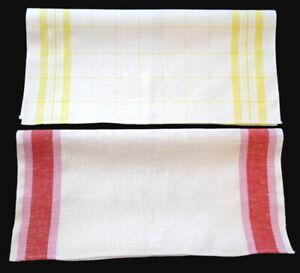 2 Vintage Linen Kitchen TOWELS Stripes & Checks BOTH UNUSED!!