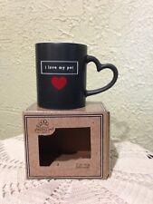 """I LOVE MY PET MUG"" Heart shaped handle! & heart inside rim NEW BOXED"