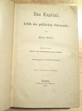 MARX.  Das KAPITAL. 1885  Hamburg 1st Edition of Second Volume Edited by ENGELS.