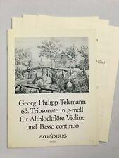 Noten. Telemann. 63. Triosonate in g-moll.   Partitur und Stimmen.
