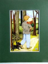 """New listing Mary Engelbreit Matted Calendar Print 8 X 10"""" Walking with Daddy #122"""