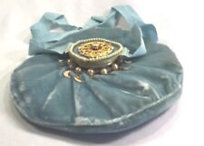 Vintage Pale Aqua Velvet Ice Pack Compress Gold Accents Faux Pearls Fancy!