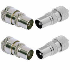 2 X MALE 2 X FEMALE TV AERIAL CONNECTOR PLUG SOCKET COAX TV