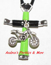 Disciples Cross Horseshoe Nail Necklace Dirt Bike you choose colors