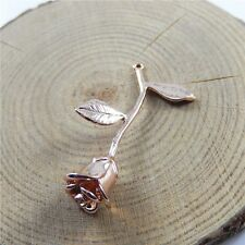 40*25*10mm Rose Gold Ton Brass Rose Flower Shaped Charms Jewelry Findings 3pcs