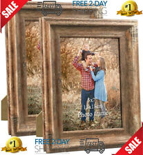 2-Pack 5x7 Picture Frames Set Vintage Brown Wood Family Art Rustic Photo