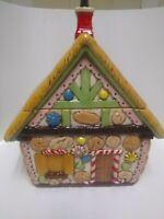 VTG Duncan Enterprises Ceramic Gingerbread House Cookie Jar Christmas Decor