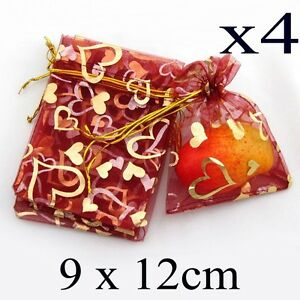 4 Red Organza Jewellery Gift Pouch Pouches  Bags  Gold Heart 9cm x 12cm