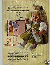 1966 PAPER AD Doll Cindy Rooted Hair Jointed Wets Cries Airline Clock Radio AM