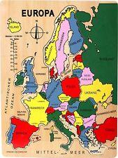 Puzzle Europa Holz Lernspiel Lernpuzzle Erdkunde Weltkarte Kinder Spielzeug NEU