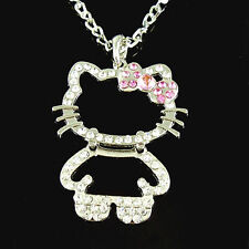 Silverplated Hello Kitty Outline Style Crystal  Rhinestone Necklace w/ Pink Bow