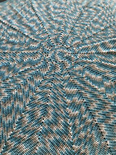 "Baby Boy's Blue12 Point Blanket. 74"" in Diam. Hand Crochted."