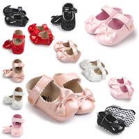 Toddler Baby Girl Bowknot Crib Shoes Newborn Prewalker Non-slip Kids Soft Sole