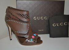 $1,195+ GUCCI LIKA Laser Cut Leather Brown Stone Detailed Ankle Bootie Boot 9.5