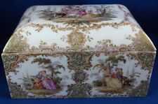 Antique 19thC Dresden Porcelain Large Scenic Box Porzellan Dose Scene Szenen