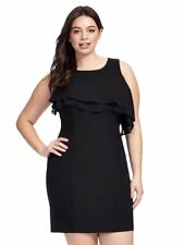 TAYLOR Black Chiffon Asymmetrical Ruffle Front Shift Dress Size 20W 2X