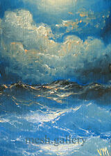 Mesheryakov ACEO ORIGINAL ART oil painting NAUTICAL IMPRESSIONISM Night Waves