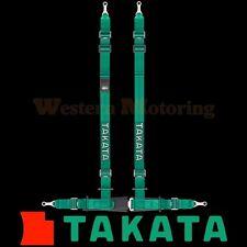 Takata Seat Belt Harness: Drift II 4-Point ASM - Green (Bolt-On) 74001US-H2