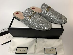 Gucci Slides Women's Shoes EUR 40/US 9 Silver Crystal Sparkle Leather Limited Ed