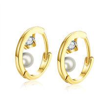"18K Gold Plated Earrings Huggie Hoop AAA Zirconia Leverback .2"" L204"