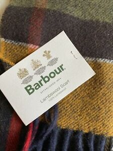 New Barbour Classic Tartan Inverness Scarf Green Earthtone 100% Lambswool  NWT